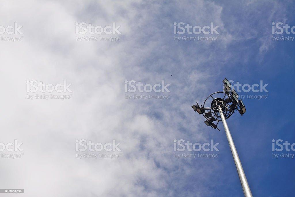Sky with light poles. stock photo