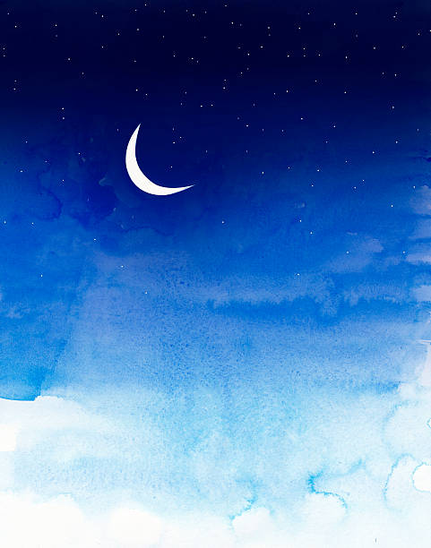 sky with moon and stars painted in water colors stock photo