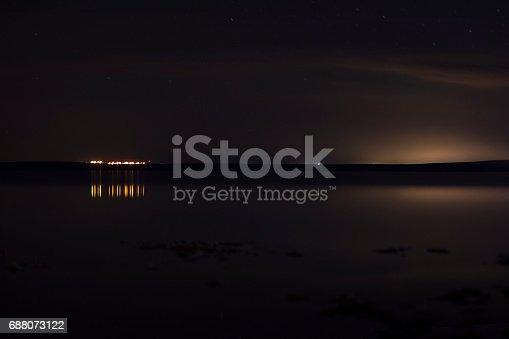 1039894076 istock photo Sky with silhouette mountain 688073122