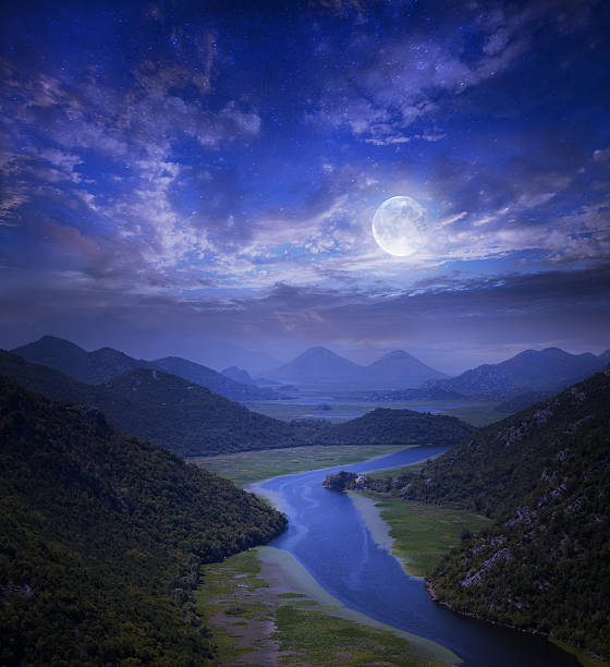 Sky with stars on the Montenegro lake stock photo