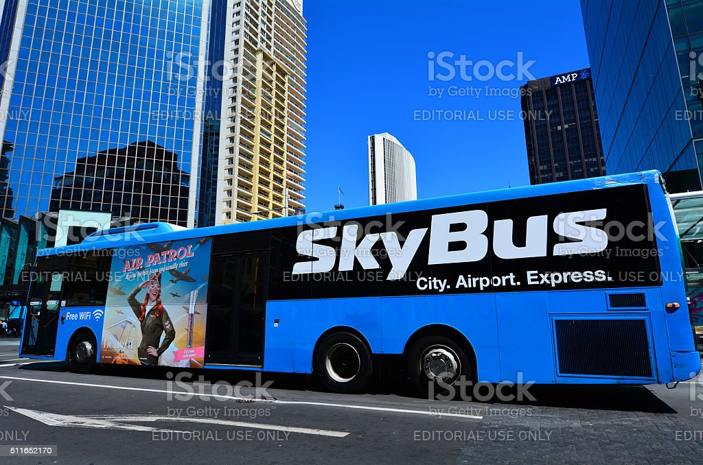 SkyBus on Queen Street in Auckland New Zealand stock photo