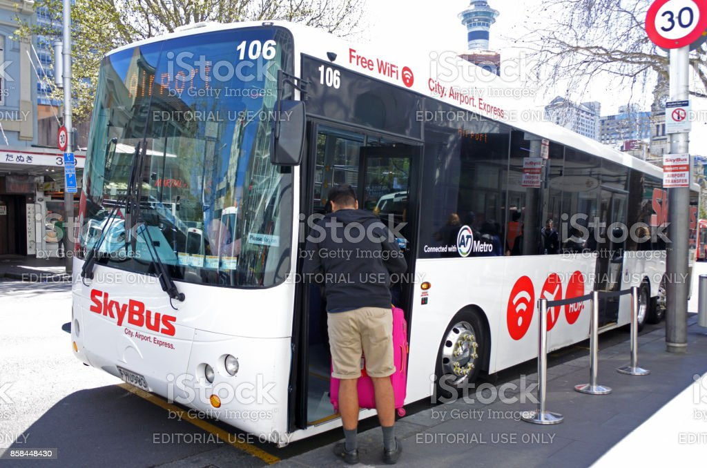 Skybus Super Shuttle in Auckland New Zealand stock photo
