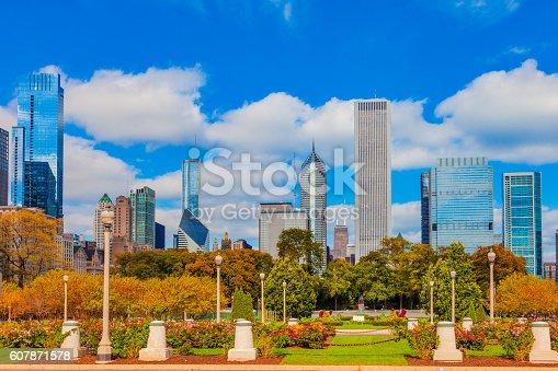 852738732istockphoto Skycraper of Chicago Skyline and Grant Park,ILL 607871578