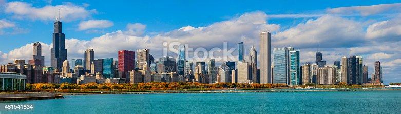 852738732istockphoto Skycraper of Chicago Skyline Panorama, ILL 481541834