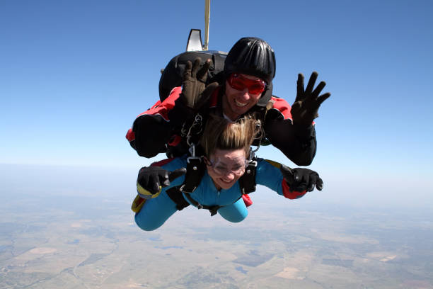 Skydive tandem on a cold and dry day. stock photo