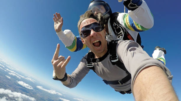 Skydive Tandem Selfie stock photo