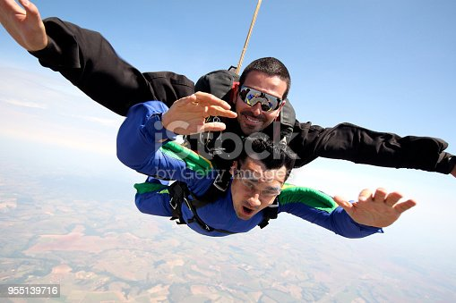 istock Skydive Tandem two friends 955139716