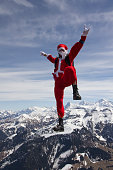 Skydiver dressed as Santa Claus falls towards the earth