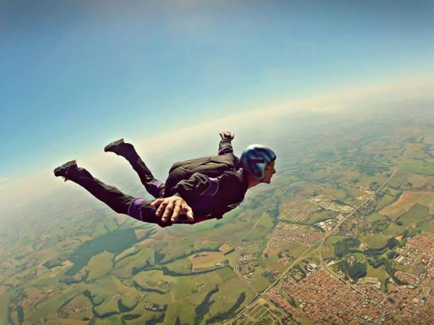 Skydiver freedom concept vintage color stock photo