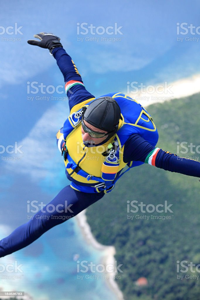 Skydiver in action stock photo