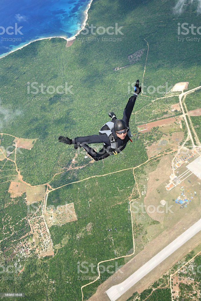 Skydiver in air stock photo