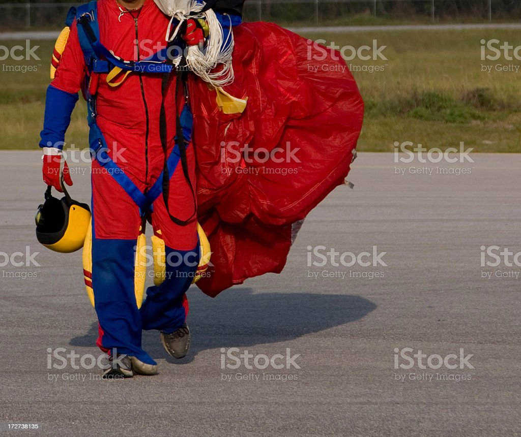 Skydiver in colorful jumpsuit and gear royalty-free stock photo