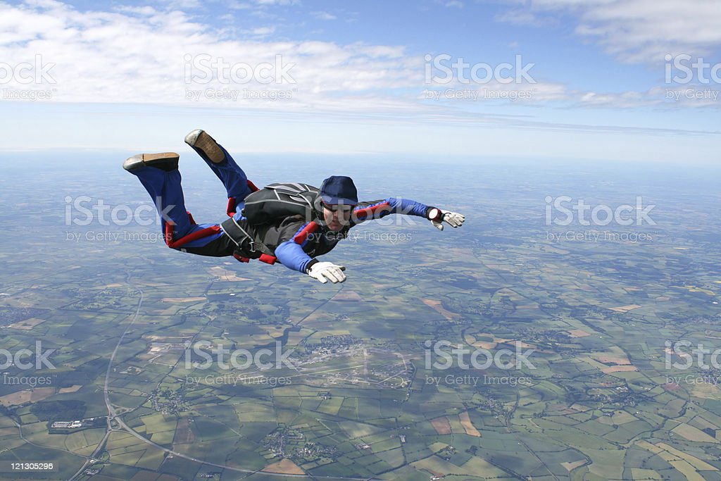 Skydiver in freefall royalty-free stock photo