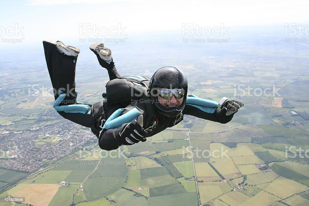 Skydiver in freefall stock photo