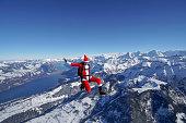 Snowy Swiss Alps visible below