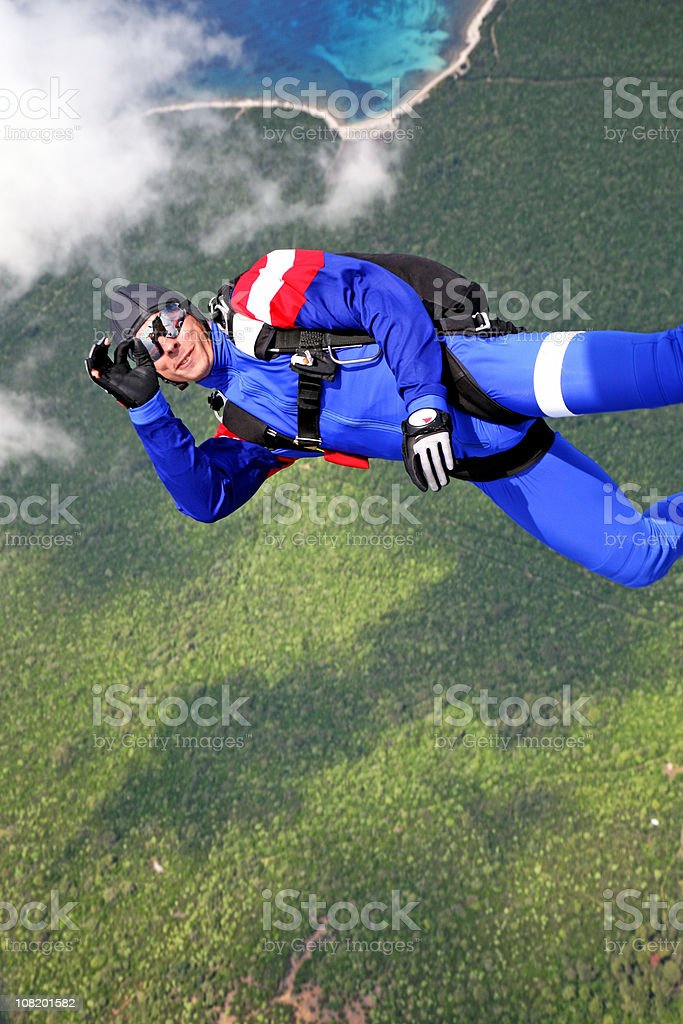Skydiver in the cloud royalty-free stock photo