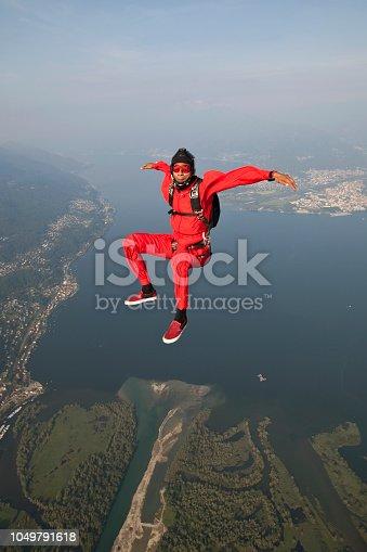 Skydiver plunges downwards