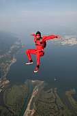 Skydiver plunges downwards