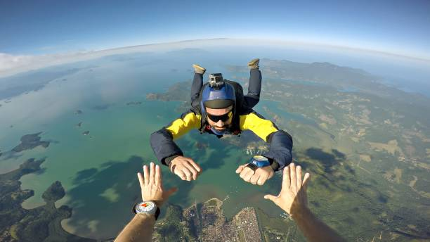 Skydiver point of view above the beach stock photo