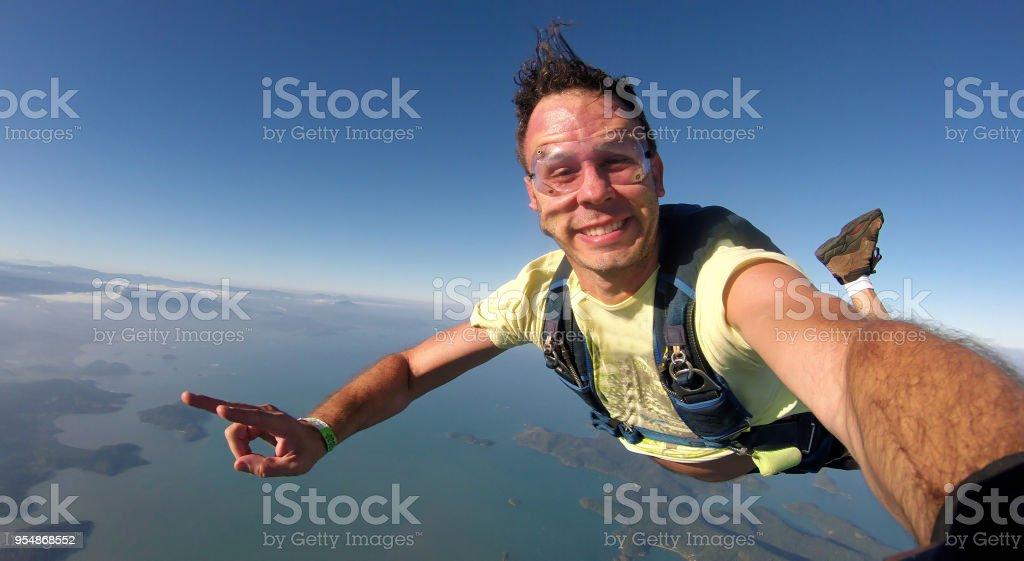 Skydiver selfie stock photo