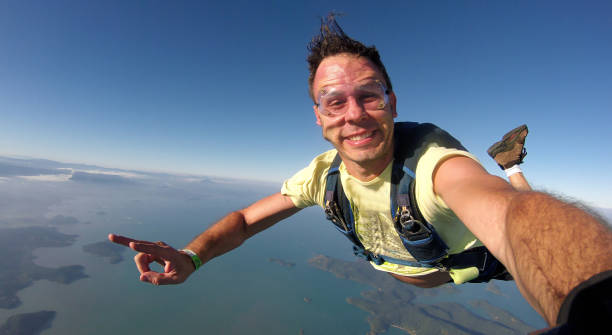 Skydiver selfie stock photo