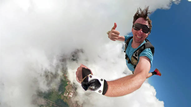 Skydiver selfie with a fish eye lens stock photo