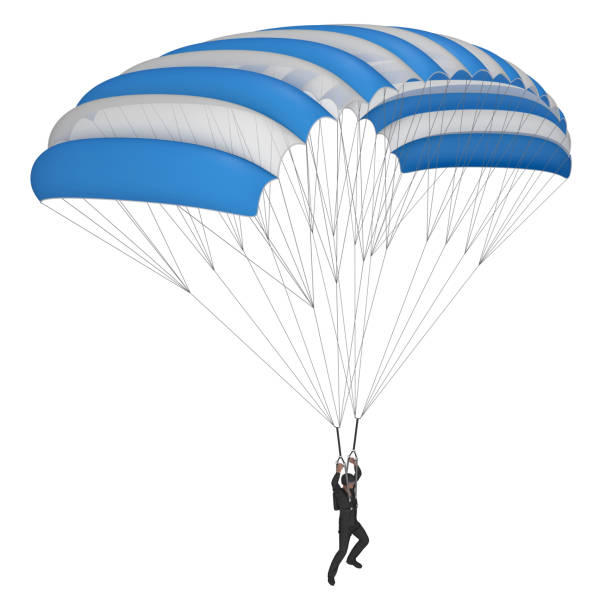 Skydiver with parachute wings white and blue. stock photo