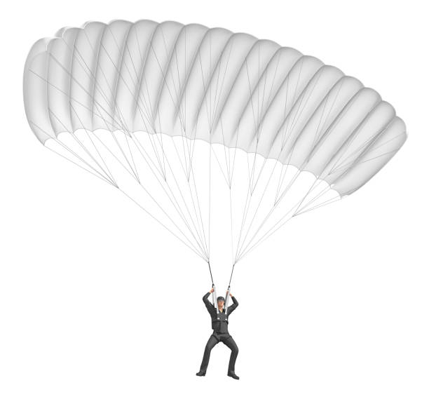 Skydiver with parachute wings white. stock photo