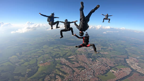 Skydivers having fun stock photo