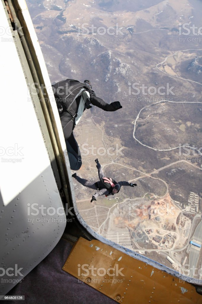 Skydivers in action royalty-free stock photo