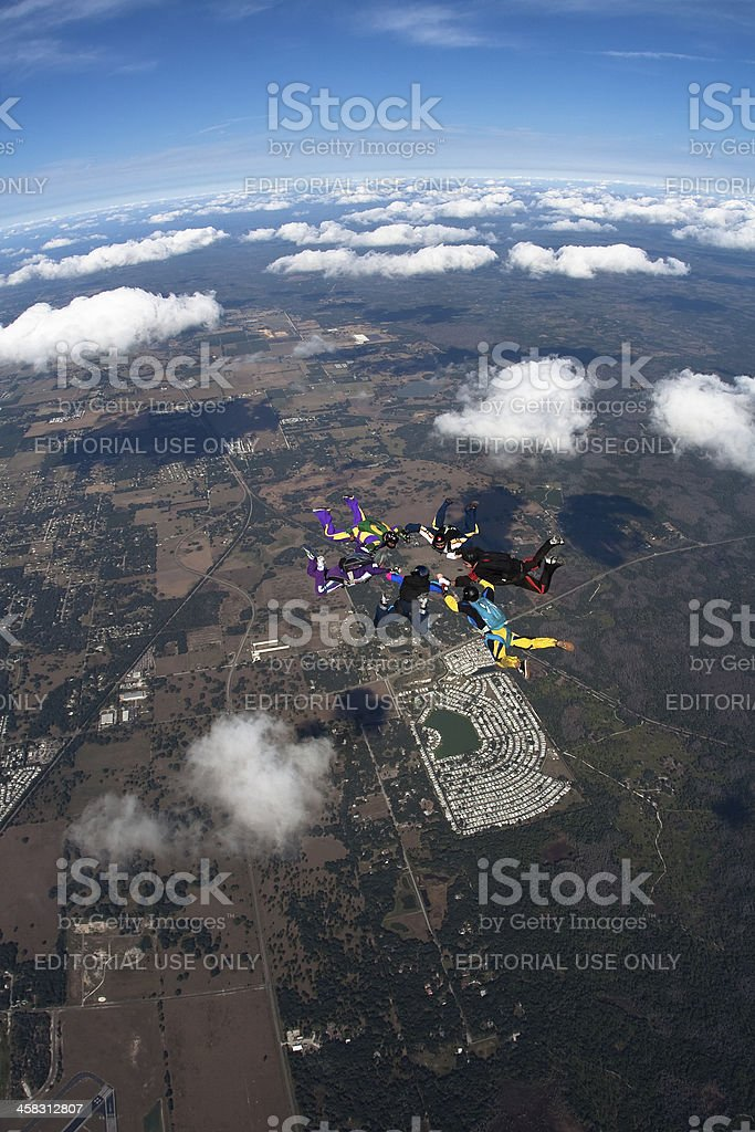 Skydivers in Formation stock photo