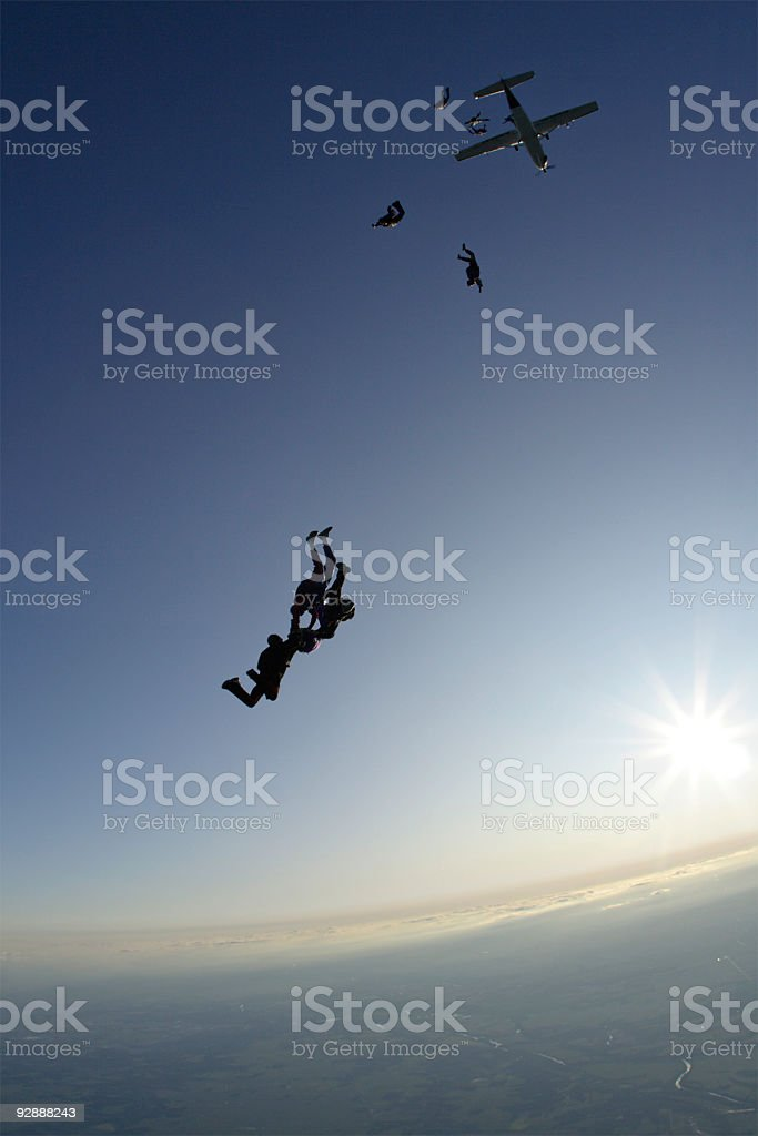Skydivers Jumping royalty-free stock photo