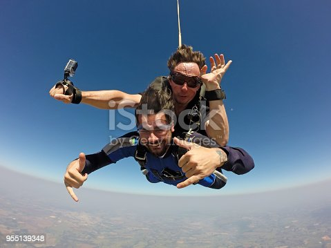 istock Skydivers making a tandem jump 955139348
