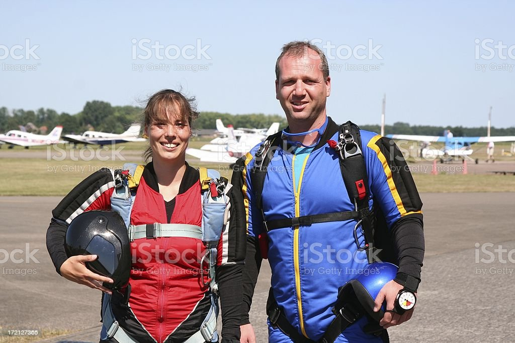 Skydivers ready for take-off #2 royalty-free stock photo
