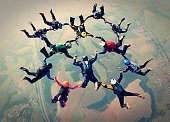Skydivers formation