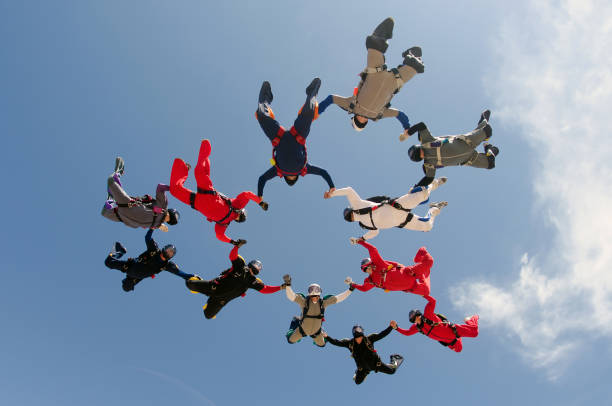 Skydiving big group formation stock photo