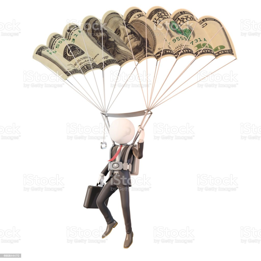 Skydiving Businessman With Banknote Parachute 3d Rendering