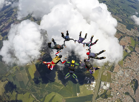 istock Skydiving group formation 1130584269