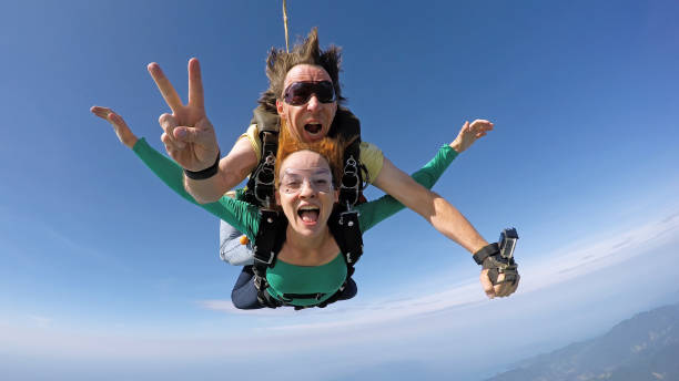 Skydiving happiness stock photo