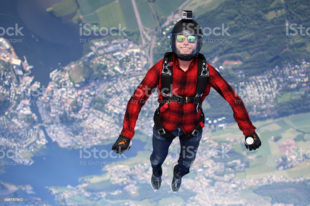 Skydiving in Norway stock photo