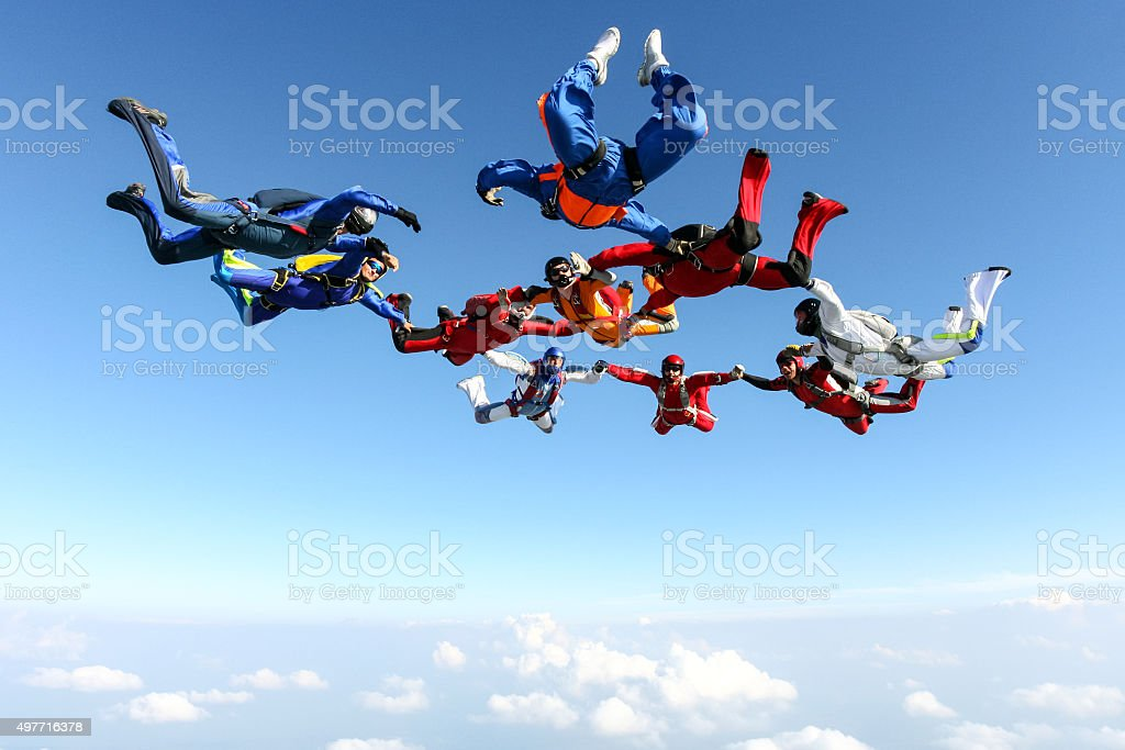 Skydiving photo. stock photo