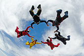 Skydivers friends having fun