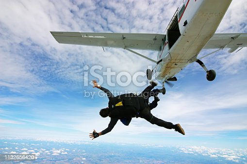 istock Skydiving tandem jump out of plane 1132656420