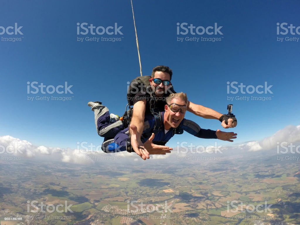 Skydiving tandem sunglasses stock photo