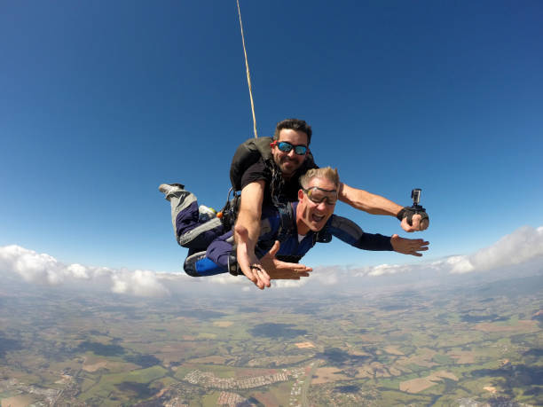 Skydiving tandem sunglasses stock photo