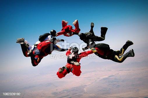 Group of skydivers making a circle