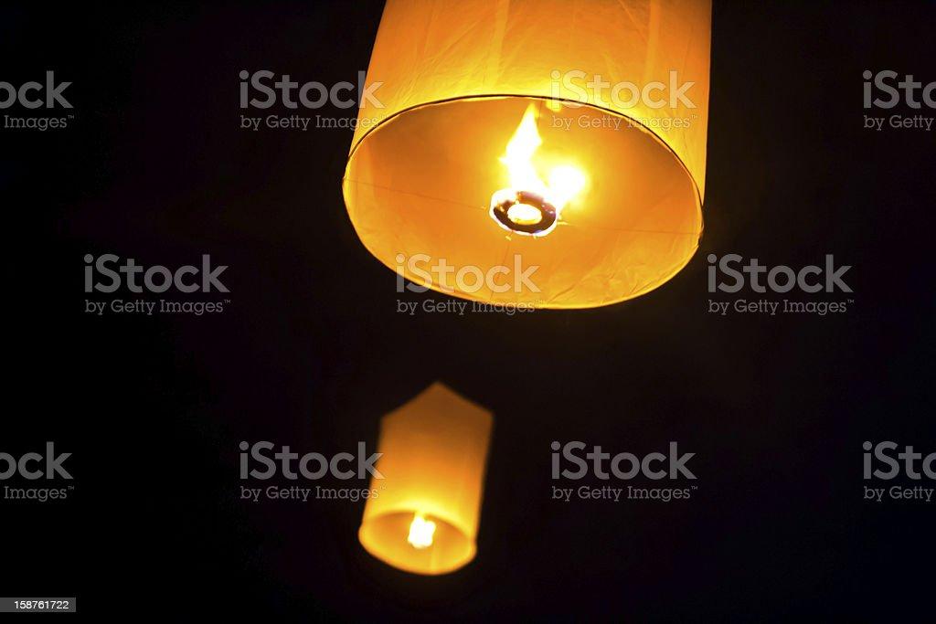 Skye lanterns festival Thailand Loy Krathong stock photo