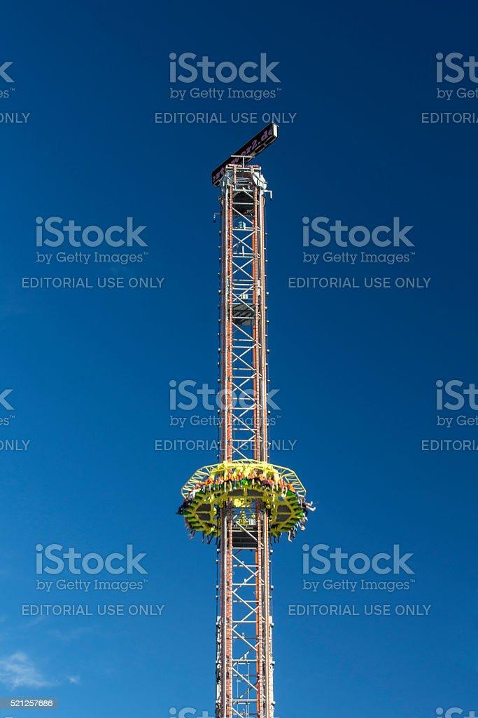 Skyfall fun ride at Oktoberfest in Munich, Germany, 2015 stock photo