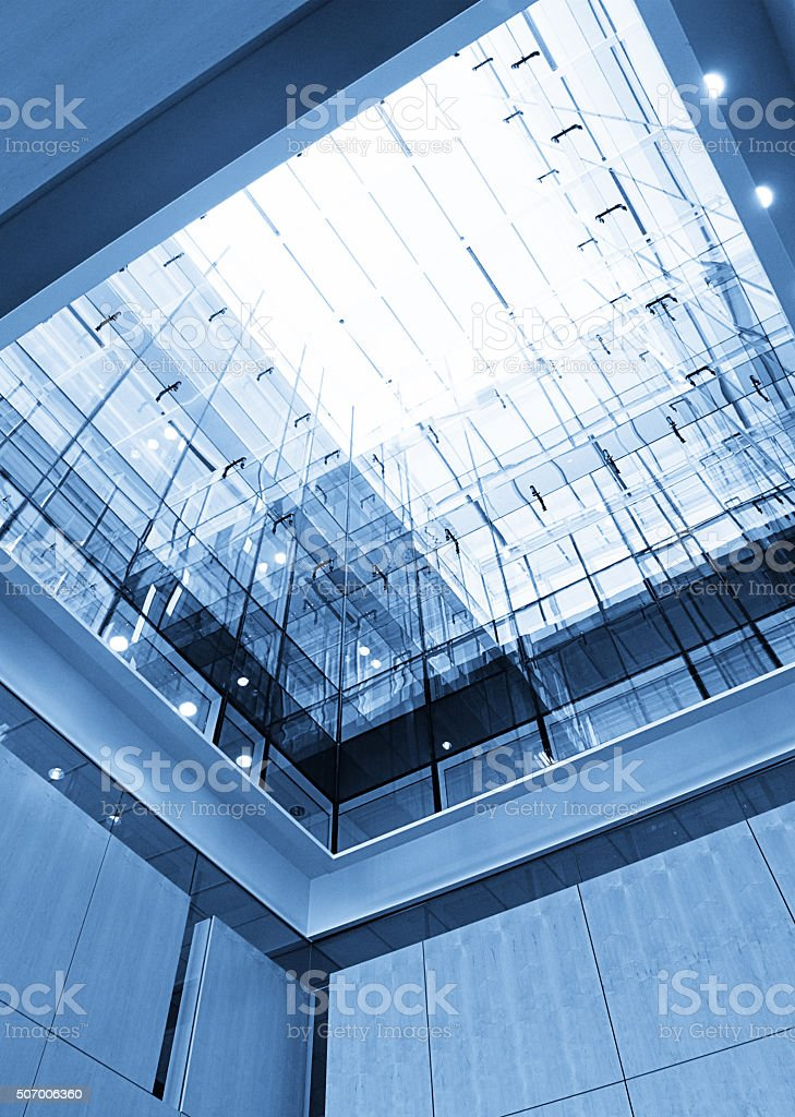 Skylight in Atrium of Modern Office or Hotel Building stock photo