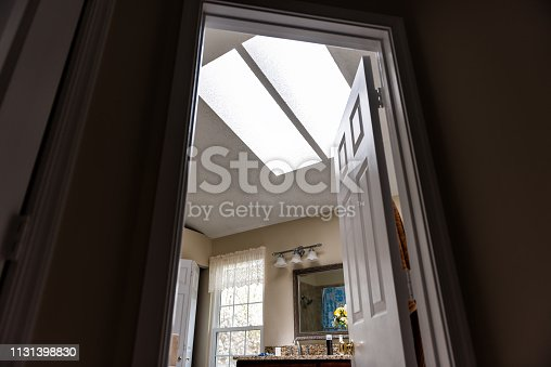Skylights in bathroom cabinets, mirror, door entrance, window, wall, bright light sunlight in home interior